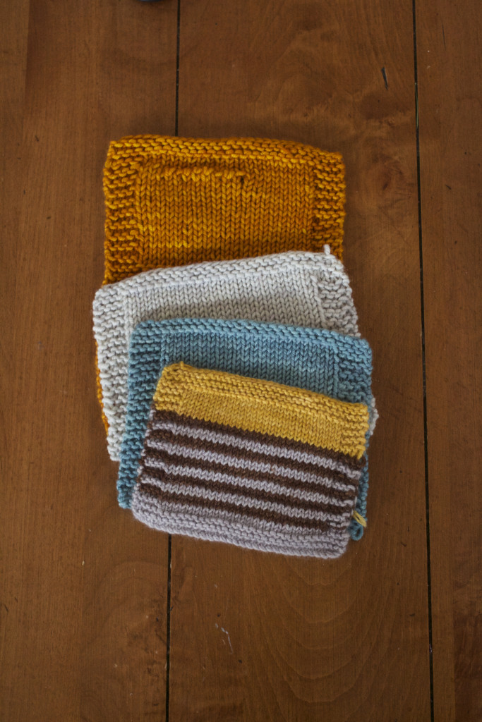 Various swatches for past and future sweaters