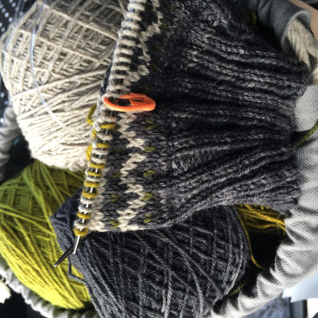 Saudade by Ysolda Teague is lucky #7. I was able to sneak in some knitting during my lunch hour today.