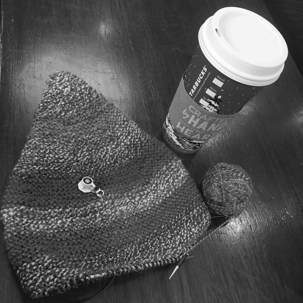 Raindrop hat by Dani Sunshine in my handspun.... and some well needed caffeine